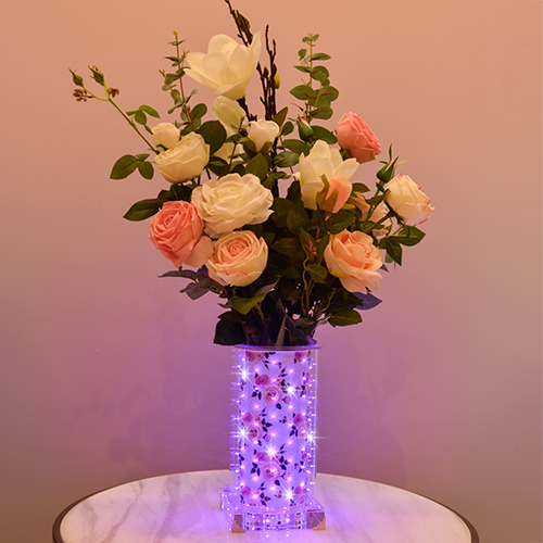 Purple Rose luminous vase (Tall Square )