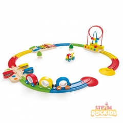 Hape - Sights and Sounds Railway Set (19 Pieces)