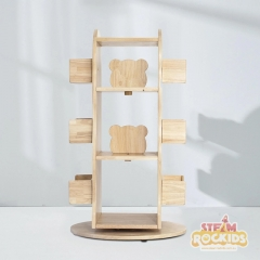 Revolving Solid Wood Bookcase (Free Delivery)