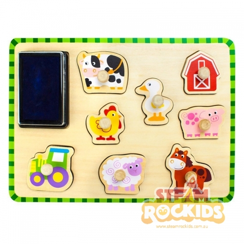 Tooky Toy Stamp Peg Puzzle (Farm)