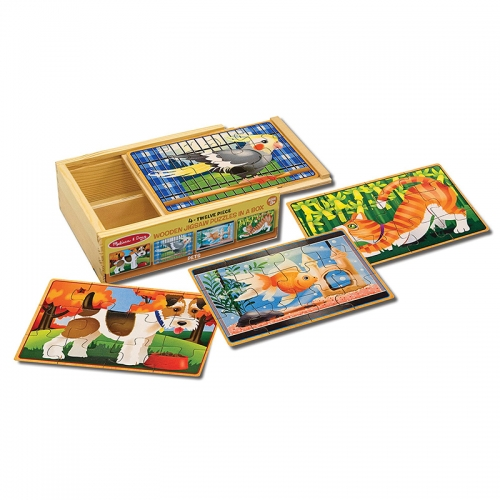 Melissa N Doug Wooden Jigsaw Puzzles in a Box (Pets)