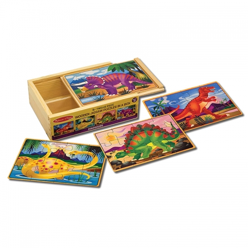 Melissa N Doug Wooden Jigsaw Puzzles in a Box (Dinosaur)