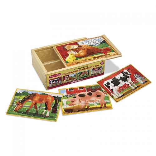 Melissa N Doug Wooden Jigsaw Puzzles in a Box (Farm)