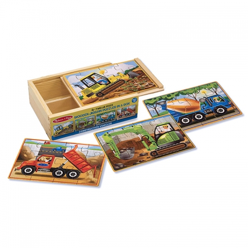 Melissa N Doug Wooden Jigsaw Puzzles in a Box (Construction)
