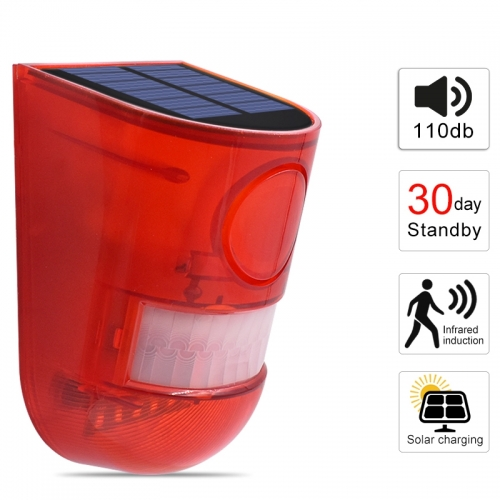 Solar Alarm Lamp 110db Warning Sound 6led Red Light IP65 Waterproof with Motion Sensor