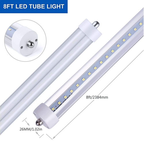 "8ft LED Tube Light 96"" 45Watt T8 FA8 Single Pin LED Bulbs with Clear & Frosted Cover 6500K Cool White Replace Fluorescent Bulb"