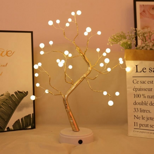 36 LEDs USB Pearl Tree Light Copper Wire Table Lamps Night Light Warm White