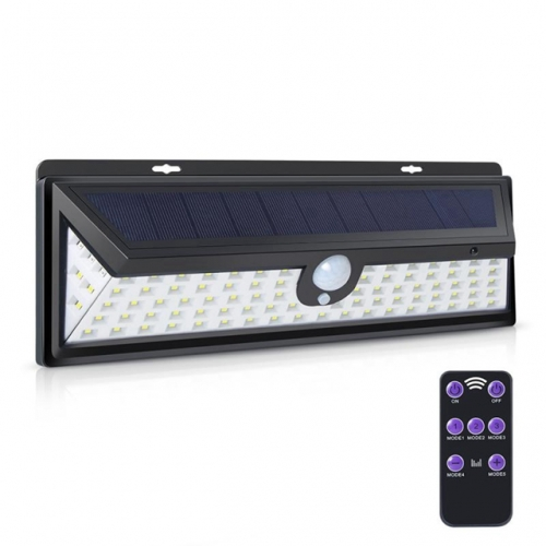 92 LEDs Solar Wall Lights Solar Motion Sensor Alarm Lamp Lighs with Remote Controller 3 Modes 1200 Lumens Outdoor Solar Garden Security Lights