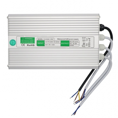 Waterproof LED Power Supply AC100-240V / AC 190-250V to DC 12V 80W 100W 120W 150W 200W 250W 300W 350W LED Transformers Adapter for Outdoor LED Lights