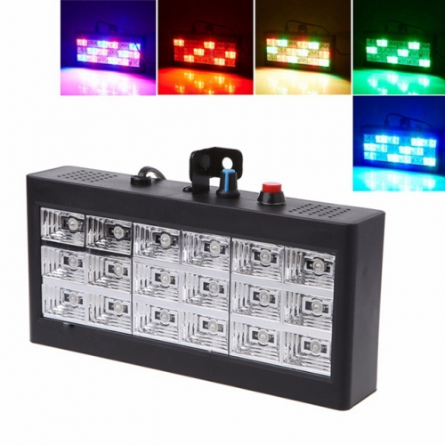 18 LEDs 20W RGB Voice Automatic Control LED Room Strobe Lights Projector Strobe Light Stage Lighting Effect Lamp for Club Disco KTV Party