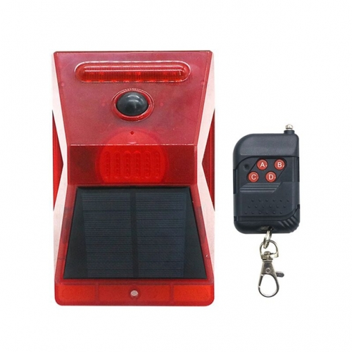 2020 New Solar Alarm Lights 129db Sound Security Solar Strobe Light with Controller Montion Sensor