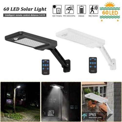 60 LED Solar Wall Light Solar Outdoor Garden Lamp PIR Sensor Light Sensor with Remote Control 3 Modes