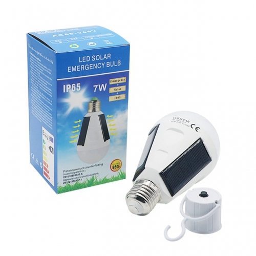 Upgrate Version 7W 12W Rechargeable Solar Bulb E27 85-265V Waterproof Outdoor Solar Light Emergency Camping Hiking Fishing Light