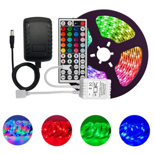 5M 10M 5050 30 LED Non Waterproof RGB LED Strip Light Kit Set with 44 Key Remote Control + DC12V Power Supply with Retail Package