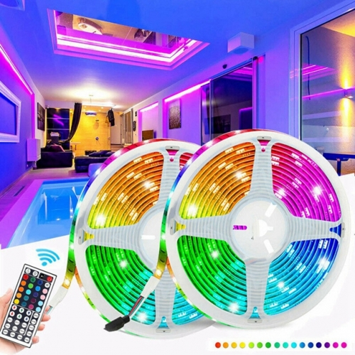 5M 10M 5050 60LED Waterproof RGB LED Strip Light Kit Set + 44 Key Remote Control + DC12V Power Supply with Retail Package