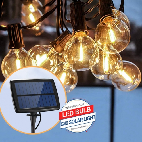 10 LEDs 25LEDs Globe Bulb Solar String Lights Garden Solar Light Garland Bulb Edison String Lights G40 Retro Glass Lamp for Outdoor Garden Party