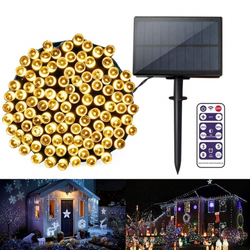 17M 22M Solar LED String Lights with Timer Remote Control Waterproof 8 Modes Holiday Christmas Party Decoration Garland Fairy Lights