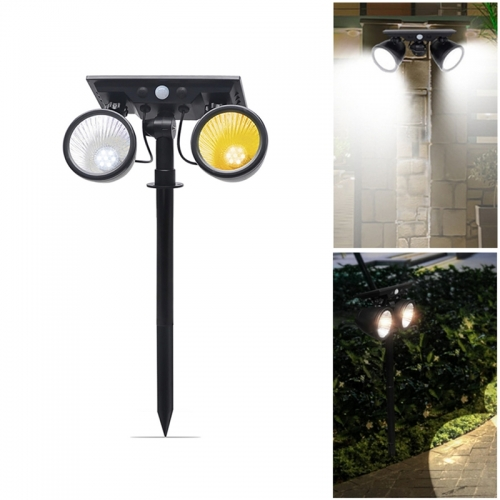 Rotatable Dual Color 2-in-1 Solar Lawn Lights PIR Sensor Solar Garden Waterproof Spot Light