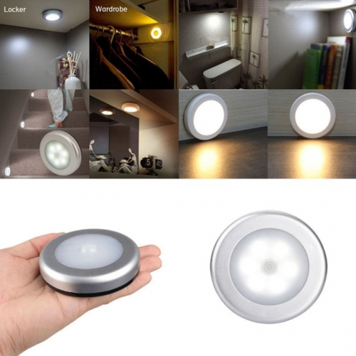 6 LED Round PIR Sensor Cabinet Light Wall Stairs Night Lamp Induction Closet Light