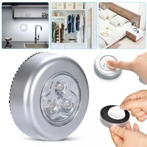 3 LED Round Touch Night Lamp Kitchen Cabinet Light Closet Light