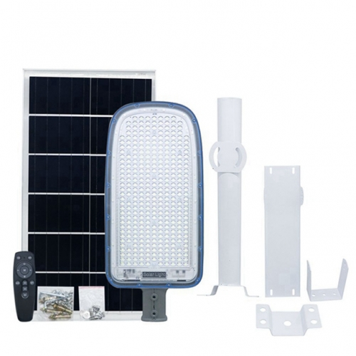 120W Solar Street Light with Pole IP65 Waterproof White+RGB Slim Outdoor Solar LED Light
