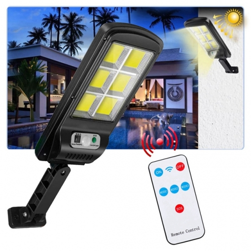 COB Solar Wall Street Light Outdoor Security Light PIR Motion Sensor with Smart Remote Control 3 Modes