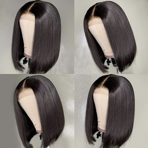 Straight Short Human Hair Wigs 150% Density 13X4 Straight Bob Lace Front Wigs Brazilian Lace Front Human Hair Wigs