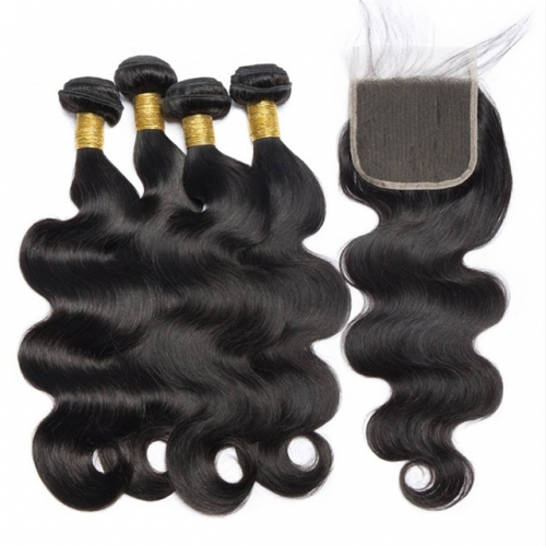 Luxtresses Brazilian Body Wave with Closure Remy Brazilian Hair Weave 3 Bundles with Closure