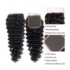 "Luxury Tresses 4x4 Deep Wave Closure Human Hair Free/Middle Part Lace Closure 10""-20"" Natural Color Free Shipping"
