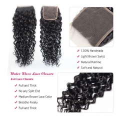 "Luxury Tresses 4x4 Water Wave Closure Human Hair Free/Middle Part Lace Closure 10""-20"" Natural Color Free Shipping"