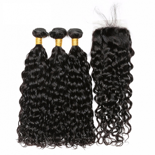 Luxtresses Water Wave Wet and Wavy Human Hair Weave 3 Bundles With Closure Natural Black