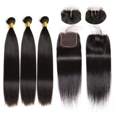 Luxury Tresses Straight Hair 3 Bundles with Closure Natural Black 100% Unprocessed Remy Human Hair Weave With Closure