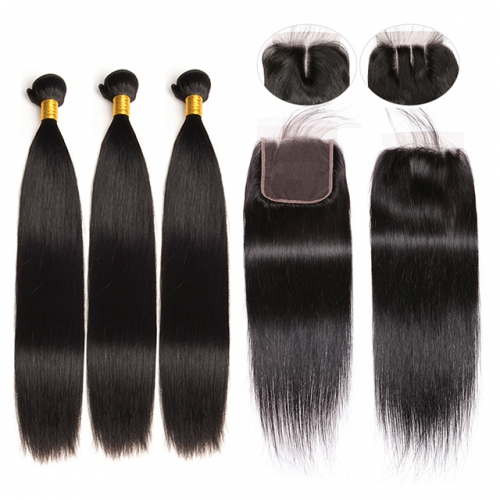 Luxtresses Straight Hair 3 Bundles with Closure Natural Black 100% Unprocessed Remy Human Hair Weave With Closure