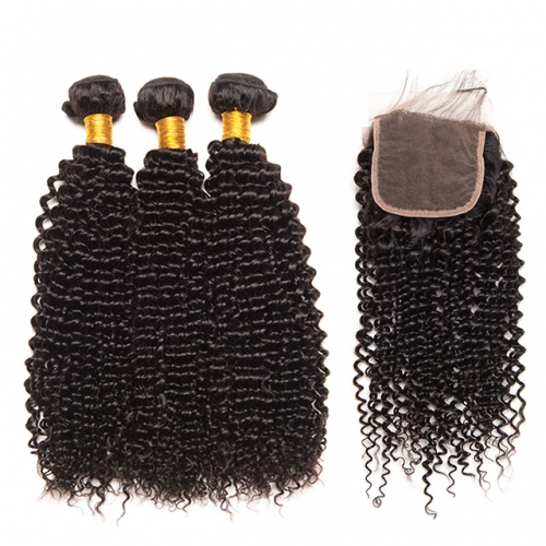 Luxury Tresses Brazilian Curly Bundles with Closure Remy Brazilian Hair Weave 3 Bundles with Lace Closure