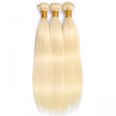 Luxury Tresses Brazilian Straight Hair 100% Human Hair Weave Bundles 3 Bundles Remy Hair 613 Blonde Hair Extension