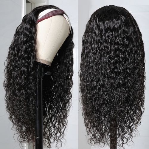 Luxtresses Water Wave Wigs With Headband Attached Natural Black Escape Headband Wigs Beginner Friendly 150% Density For Sale