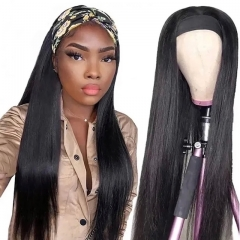 Luxtresses Straight Headband Scarf Wig Glueless Human Hair for African American Women Affordable Headband Wig Beginner Friendly