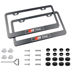 Stainless Steel S-Line License Plate Frame with Screw Caps Cover Set for Audi S line, Black (2 Pieces)