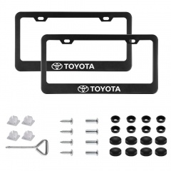 2Pcs Newest Matte Aluminum Alloy TRD Logo License Plate Frame,with Screw Caps Cover Set,Applicable to US Standard car License Frame, for Toyota.(Black
