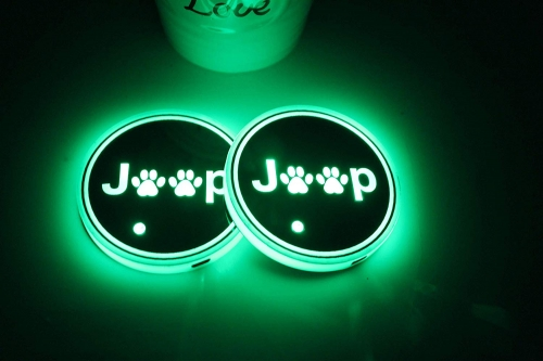 2pcs LED Car Logo Cup Holder Lights for Jeep, 7 Colors Changing USB Charging Mat Luminescent Cup Pad, LED Interior Atmosphere Lamp Decoration Light. (