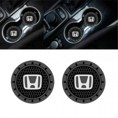 Auto sport 2.75 Inch Diameter Oval Tough Car Logo Vehicle Travel Auto Cup Holder Insert Coaster Can 2 Pcs Pack Fit Honda Accessory