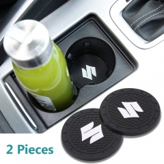 Auto sport 2.75 Inch Diameter Oval Tough Car Logo Vehicle Travel Auto Cup Holder Insert Coaster Can 2 Pcs Pack (Suzuki)