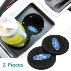 Auto sport 2.75 Inch Diameter Oval Tough Car Logo Vehicle Travel Auto Cup Holder Insert Coaster Can 2 Pcs Pack (Ford)