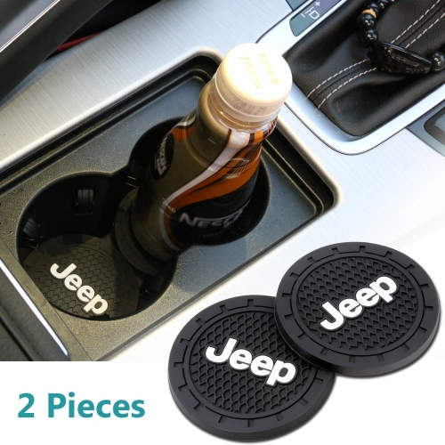 Auto sport 2.75 Inch Diameter Oval Tough Car Logo Vehicle Travel Auto Jeep Cup Holder Insert Coaster Can 2 Pcs Pack (Jeep)
