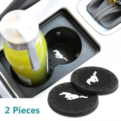 Auto sport 2.75 Inch Diameter Oval Tough Car Logo Vehicle Travel Auto Cup Holder Insert Coaster Can 2 Pcs Pack Fit Mustang Accessory