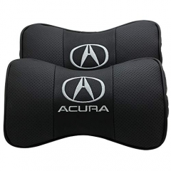 Auto Sport 2 PCS Genuine Leather Bone-Shaped Car Seat Pillow Neck Rest Headrest Comfortable Cushion Pad with Logo Pattern (Acura)