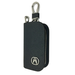 New 1pcs Mesh Black Leather Car Key Wallet Zipper Case Keychain Coin Holder Metal Hook Bag Collection For Acura Car Vehicle Auto Lover