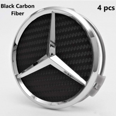 Set of 4 Wheel Center Rims Hub Caps for Mercedes-Benz,75mm Black Carbon hubcaps Cover Car Logo Chrome Emblem Fit Benz C ML CLS S GL SL E CLK CL GL Cen