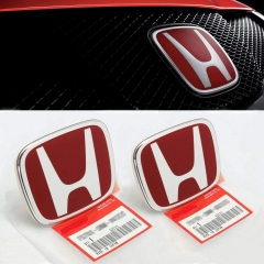 3PCS JDM RED FRONT REAR STEERING EMBLEM BADGE FOR ACCORD SEDAN 2008-2017