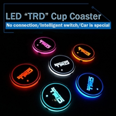 2 pcs/lot LED TRD Cup Mat Coaster for Toyota Corolla 2014 RAV4 Avensis Auris c-hr Highlander Yaris Prius Hilux Camry Car-styling